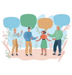 People and colorful speech bubbles vector