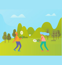 people playing badminton outdoor nature vector image