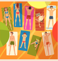 people sunbathing on towels on sunny beach set vector image