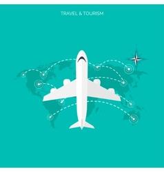 Plane icon World travel concept background Flat vector image