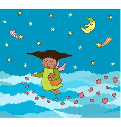 postcard of flying little angel with hearts vector image
