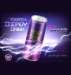 Promotion banner of powerful energy drink vector