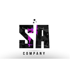 Purple black alphabet letter sa s a logo vector