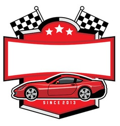 Racing car badge club vector