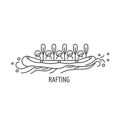Rafting line icon vector