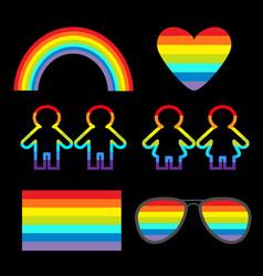 Rainbow glasses heart sunglasses flag girl boy vector