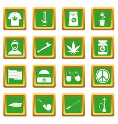 rastafarian icons set green vector image