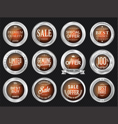 retro vintage sale silver and orange badges and vector image