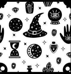seamless pattern with black witchcraft elements vector image
