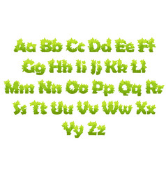 set cartoon letters from green grass vector image