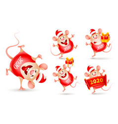 set cheerful rats rat is a symbol new year vector image