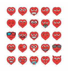 Set heart emoticons vector image