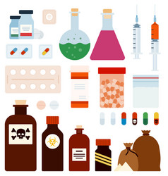 set medicament poison flat vector image