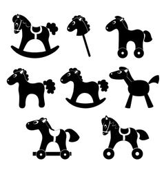 Set of horsess silhouettes vector