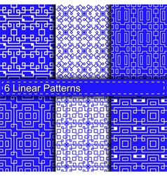 Set of six linear patterns vector image