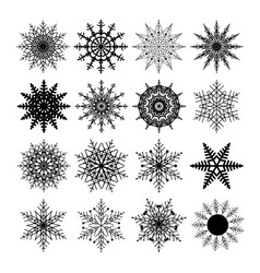 set of snowflakes isolated on a white background vector image