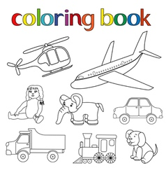 Set of various toys for coloring book vector image