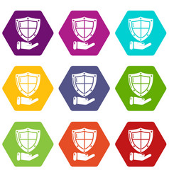shield icons set 9 vector image