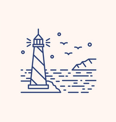 shining lighthouse outline vector image