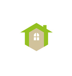 small green home symbol with window and cimney vector image