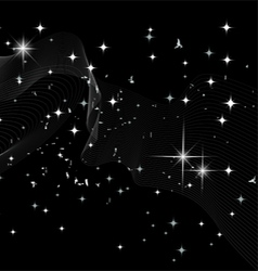 Stars a planet and galaxy in a free space vector