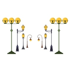 Street Lamp Post Set vector