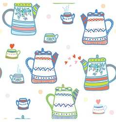 Tea seamless pattern with pots and cup cute vector image