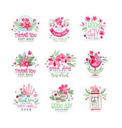 thank you good day get well logo design set vector image