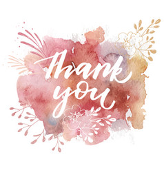 thank you hand drawn calligraphy vector image