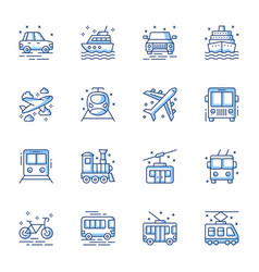 transport mean line icons set vector image