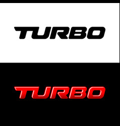 Turbo word logo sport car decal with text turbo vector