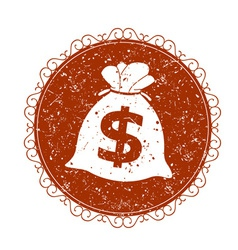 Vintage sign with money vector