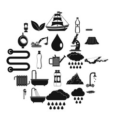 Water system icons set simple style vector