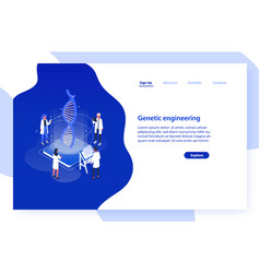 website template with group of scientists or vector image