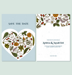Wedding invitation card with colored aloe vector