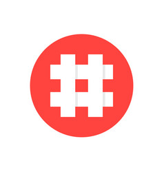 White hashtag in red circle vector