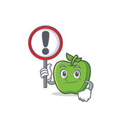 With sign green apple character cartoon vector