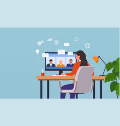 Work from home woman having a video conference vector