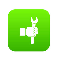 wrench tool in man hand icon digital green vector image