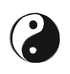 yin yang hand drawn symbol vector image