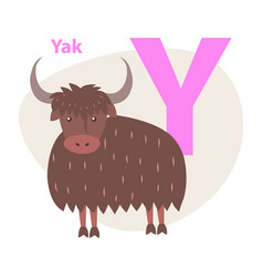 zoo abc letter with cute yak cartoon vector image