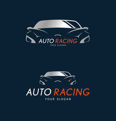 auto racing symbol on dark blue background silver vector image