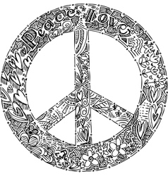 Black and white PEACE symbol vector image
