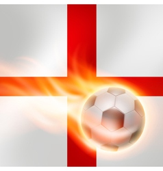 Burning football on England flag background vector image