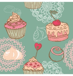 Cakes Sweets and Desserts vector image