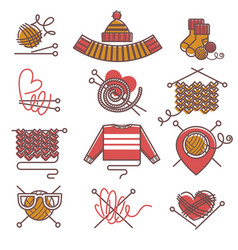 knitted clothing or knitwear winter clothes scarf vector image