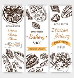 sketch bread loaf baguette vector image