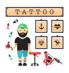 tattoo artist master in salon vector image