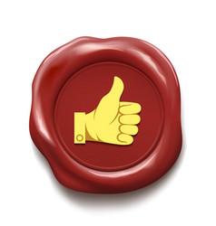 thumb up on wax seal like icon vector image