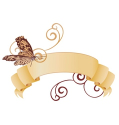 vector retro banner with butterfly vector image vector image